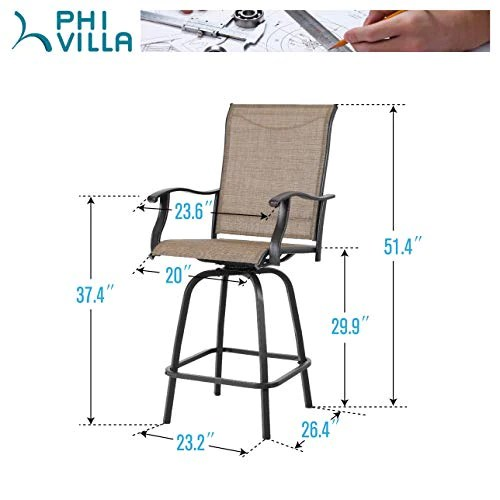 https hammocktown com products phi villa swivel bar stools all weather patio furniture 2 pack