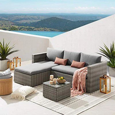 art leon 3 piece patio furniture sets all weather weaving rattan outdoor sectional sofa pe wicker patio conversation sets with glass coffee table