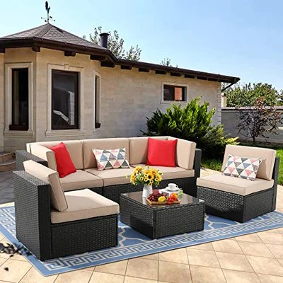 vongrasig 6 piece small patio furniture sets outdoor sectional sofa all weather pe wicker patio sofa couch garden backyard conversation set with
