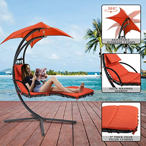 outdoor patio lounge chair with canopy umbrella orange