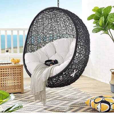 modway encase outdoor patio lounge chair without stand black white