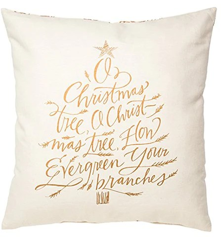 christmas holiday pillow o christmas tree white with gold lettering