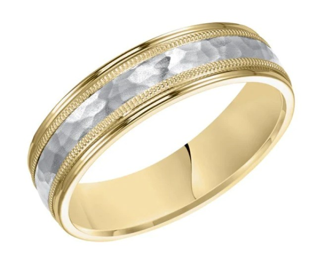 K Yellow Gold And Platinum Mm Wide Mens  Band Style Hammered Weddi Mullen Jewelers