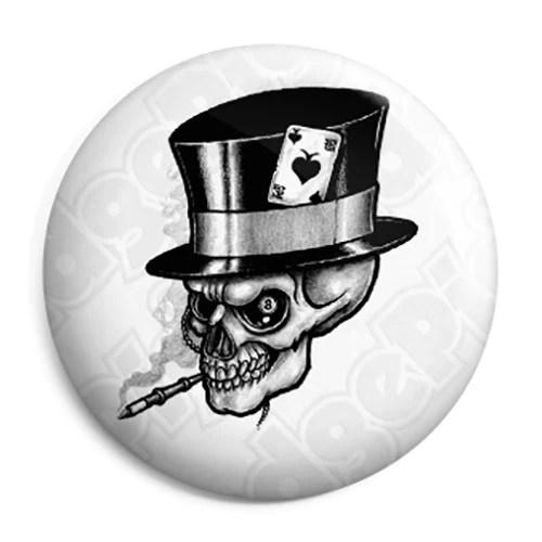 Ace Of Spades Smoking Skull Button Badge Fridge