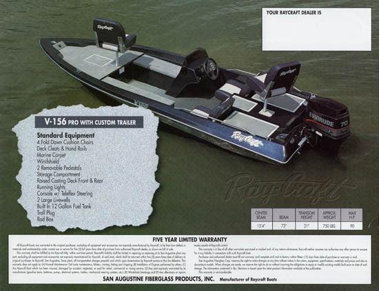 Ray Craft 1992 Bass Boat Brochure SailInfo I