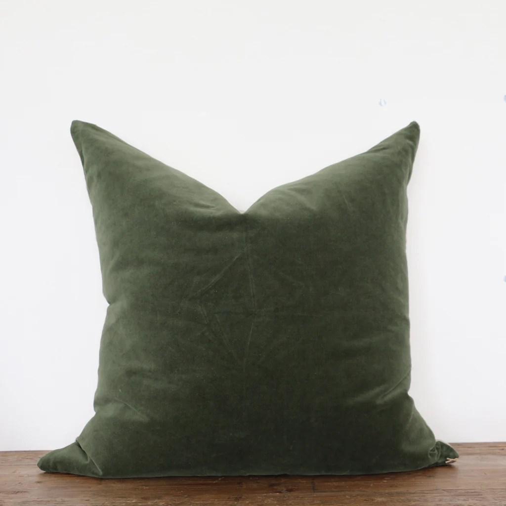 hunter green velvet cushion cover with linen back