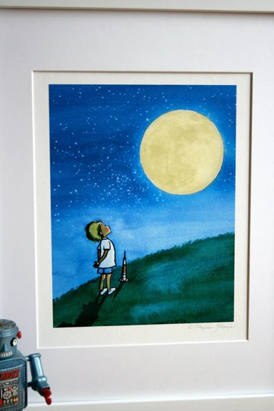 Little Boy And The Man In The Moon Boys Wall Art As