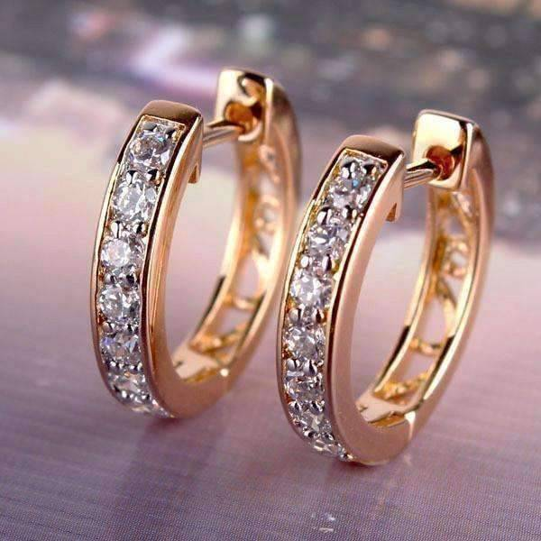 ON SALE Channel Set Sparkly CZ Diamond Petite Hoop