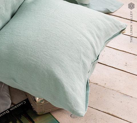 duck egg blue linen pillow sham with