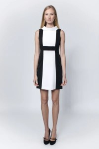 Dresses   LACCA Fashion Black   white dress with stand up cowl collar