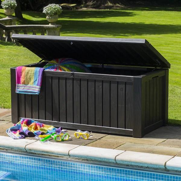 Keter Rockwood Jumbo Garden Storage Box 570ltr Brown Garden Trends