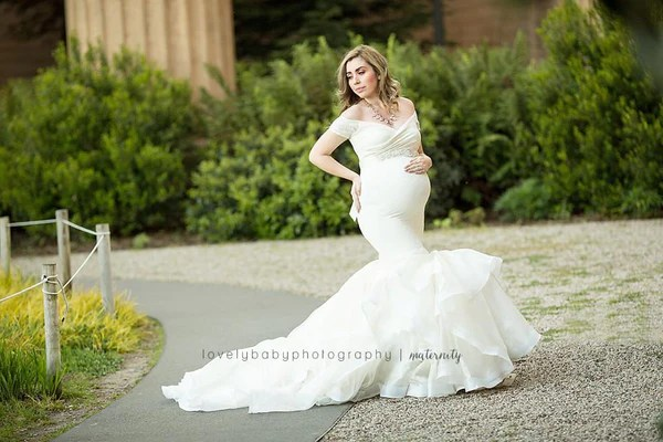 Veronique Gown • Couture Mermaid Style Maternity Gown