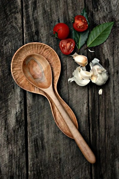 Hand Carved Wood Spoon Rest Old World Kitchen