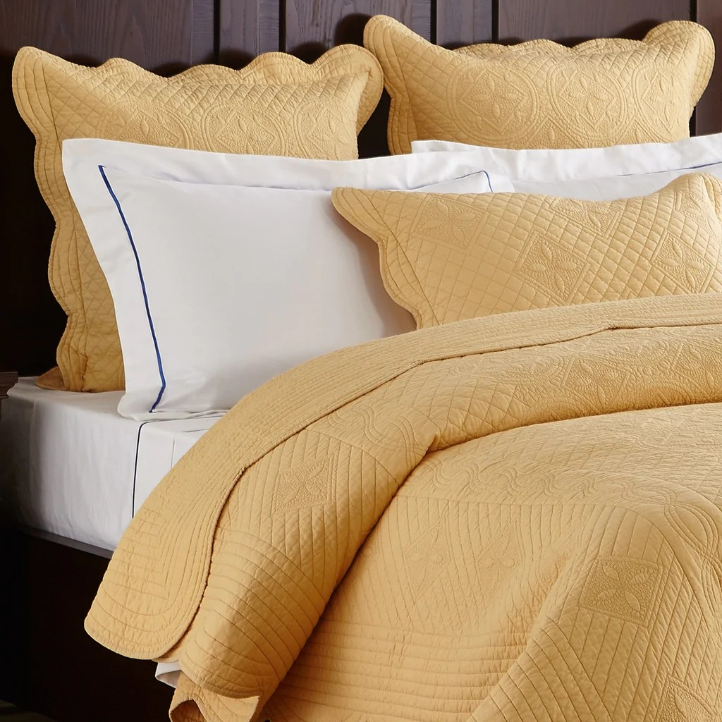 sage garden luxury pure cotton quilted gold pillow sham