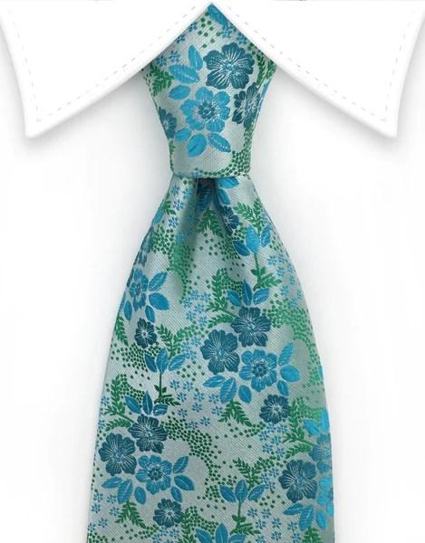 Silvery Green Turquoise Floral Silk Tie GentlemanJoe