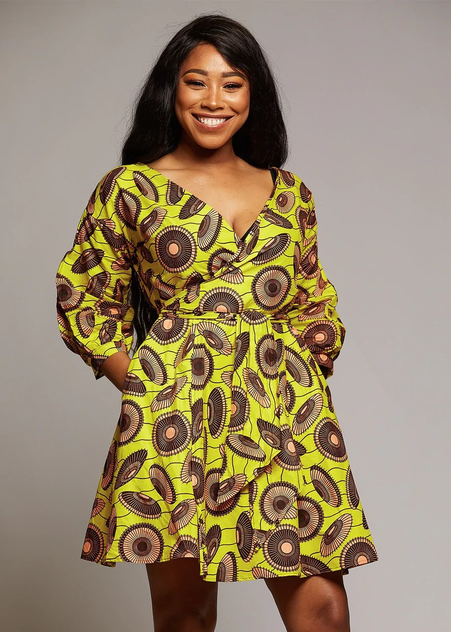 Dresses - Netta African Print Knee Length Wrap Dress (Yellow/Peach)