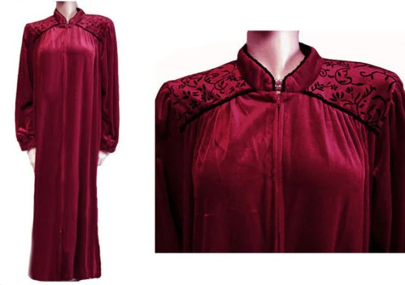 LOVELY DELICATES ZIP UP FRONT VELOUR DRESSING GOWN ROBE