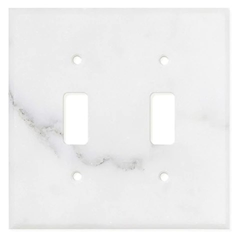 italian calacatta gold marble double toggle switch wall plate switch plate cover polished