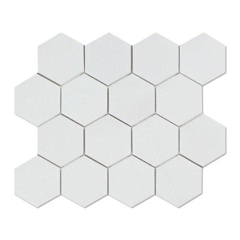 thassos white marble honed 3 hexagon mosaic tile