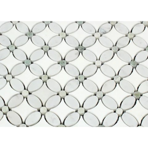 thassos white marble honed florida flower mosaic tile w ming green dots