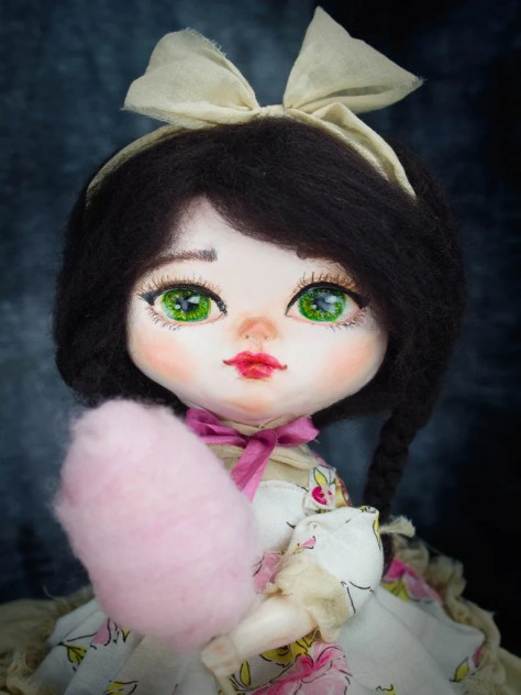 Danita Original OOAK One of a kind Art Doll Maker Making Dollmaking Handcrafted Paper Clay Cotton Candy