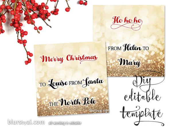 Printable Christmas Gift Tags Template For Word Fully Editable Wordin Blursbyai