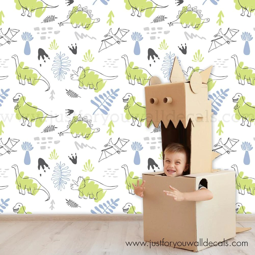 Dinosaur Removable Wallpaper Boy Nursery Wallpaper Wall Decals Removable Wallpaper Wall Murals Just For You Decals