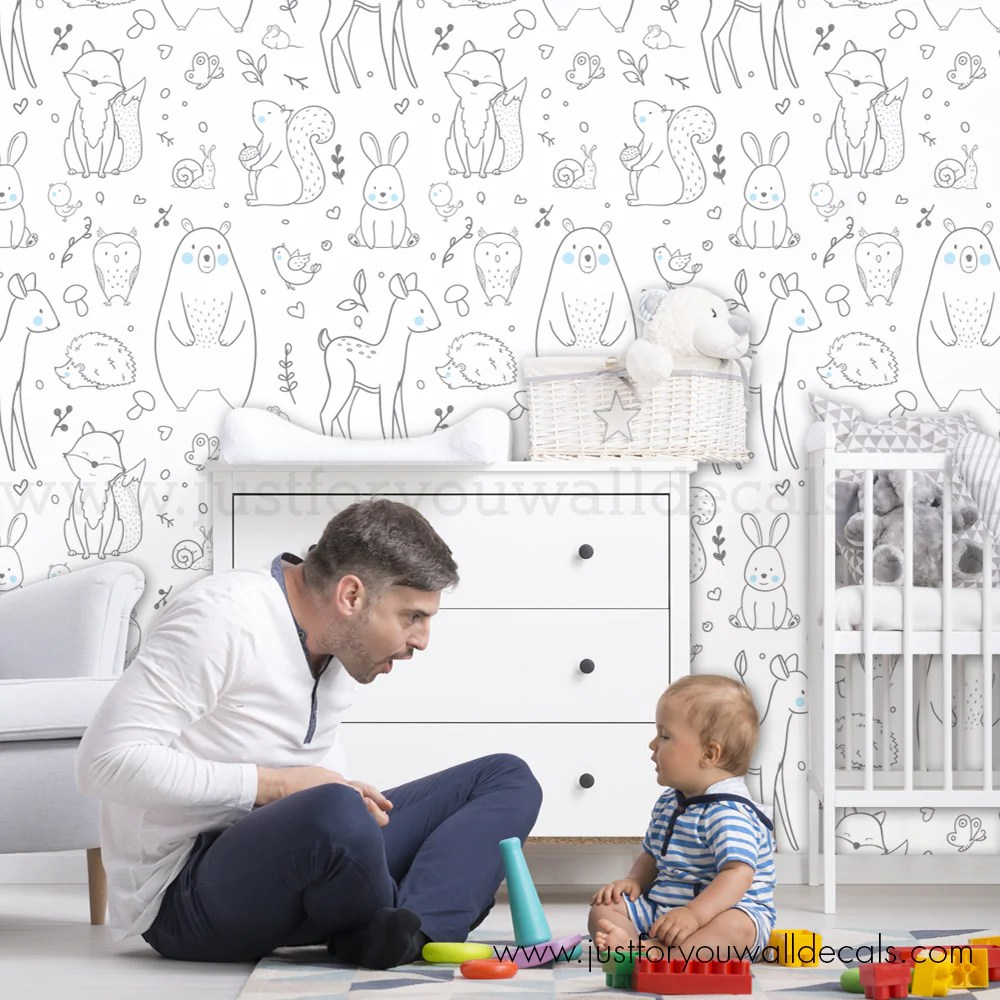Forest Animal Removable Wallpaper Nursery Removable Wallpaper Wall Decals Removable Wallpaper Wall Murals Just For You Decals
