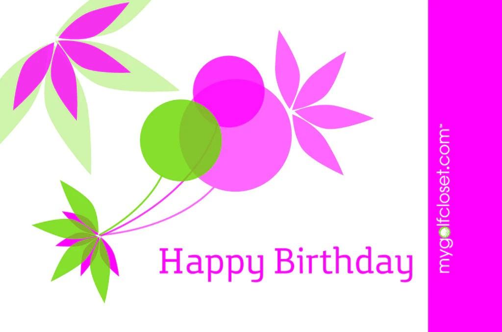 Happy Birthday Pink Green My Golf Closet