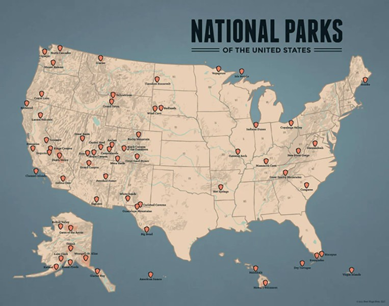 US National Parks Map 11x14 Print   Best Maps Ever US National Parks Map Print   tan   slate blue