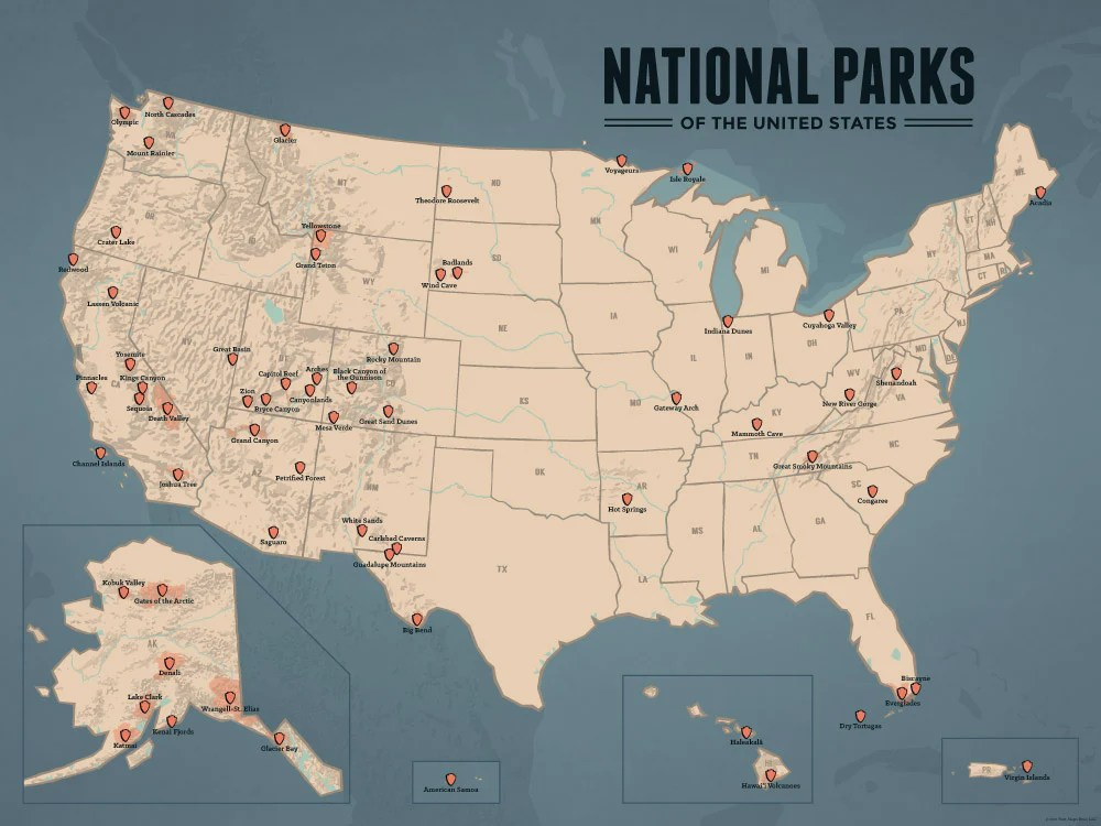 US National Parks Map 18x24 Poster   Best Maps Ever US National Parks Map Poster   tan   slate blue