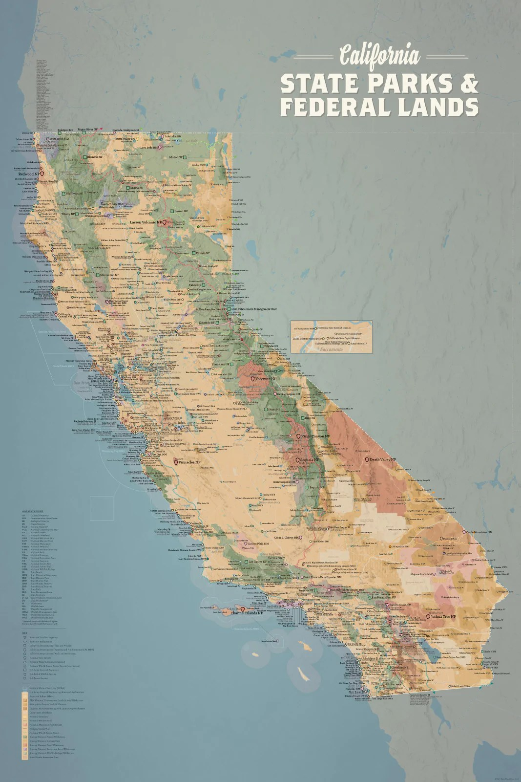 california state parks federal lands map 24x36 poster