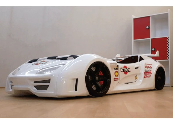 Speedster GT999 White Car Bed W Lights Sounds Amp Doors