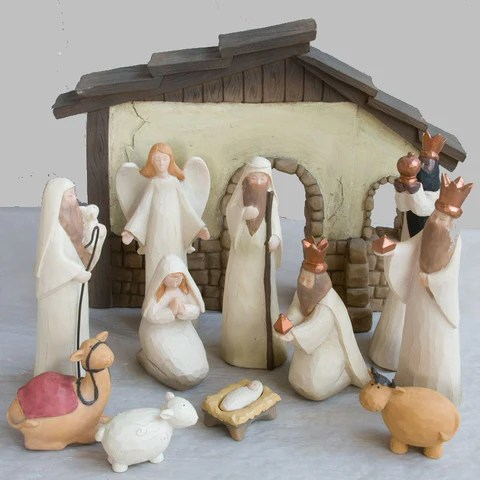 Nativity Set Wooden Nativity Christmas Stable Childrens