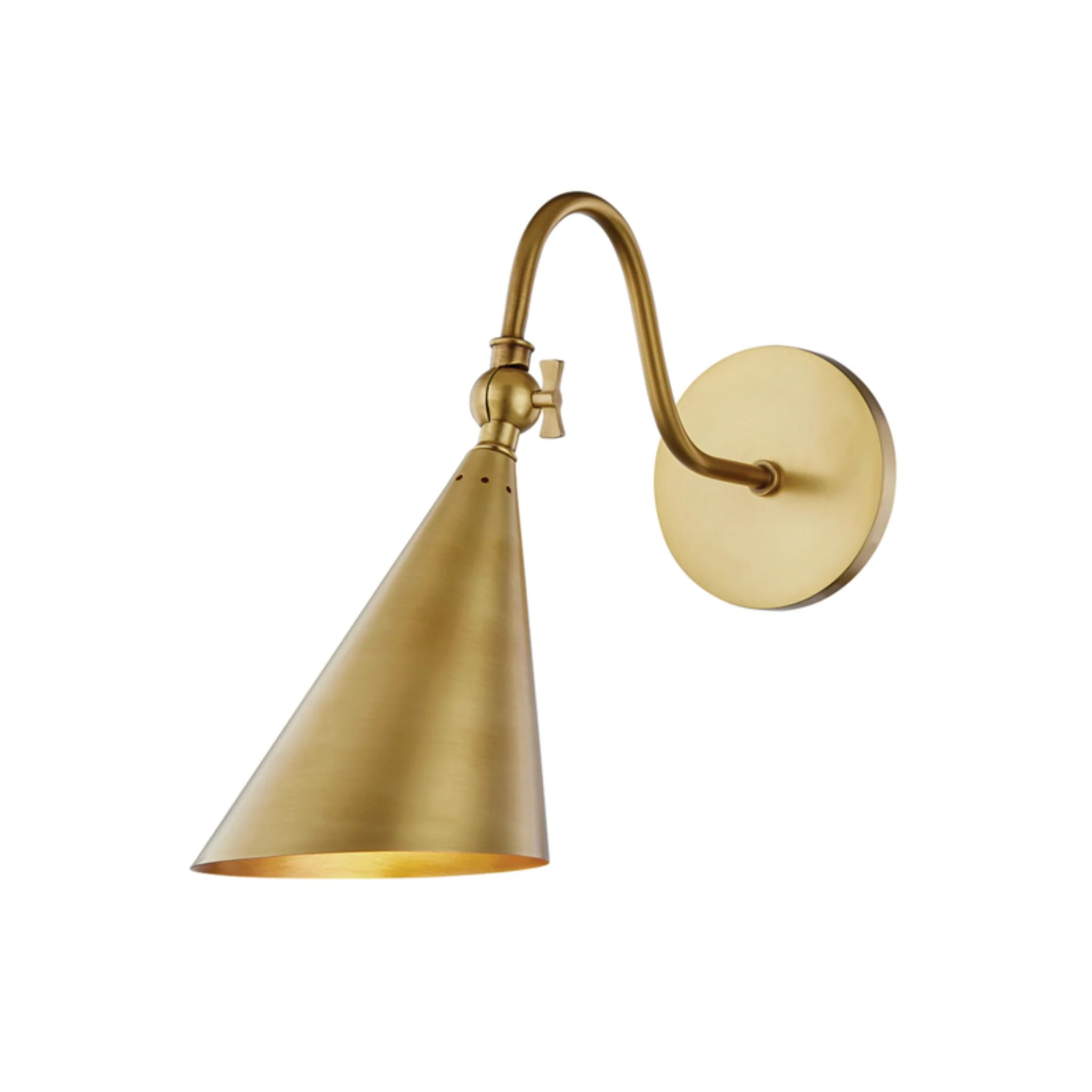mitzi by hudson valley lighting h285101 agb lupe 1 light wall sconce in aged brass