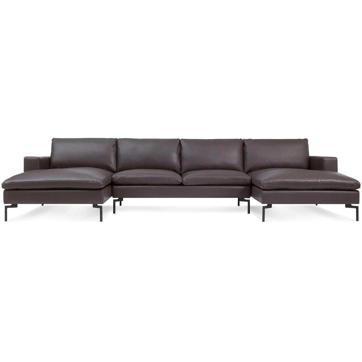 blu dot new standard u shaped leather sectional sofa