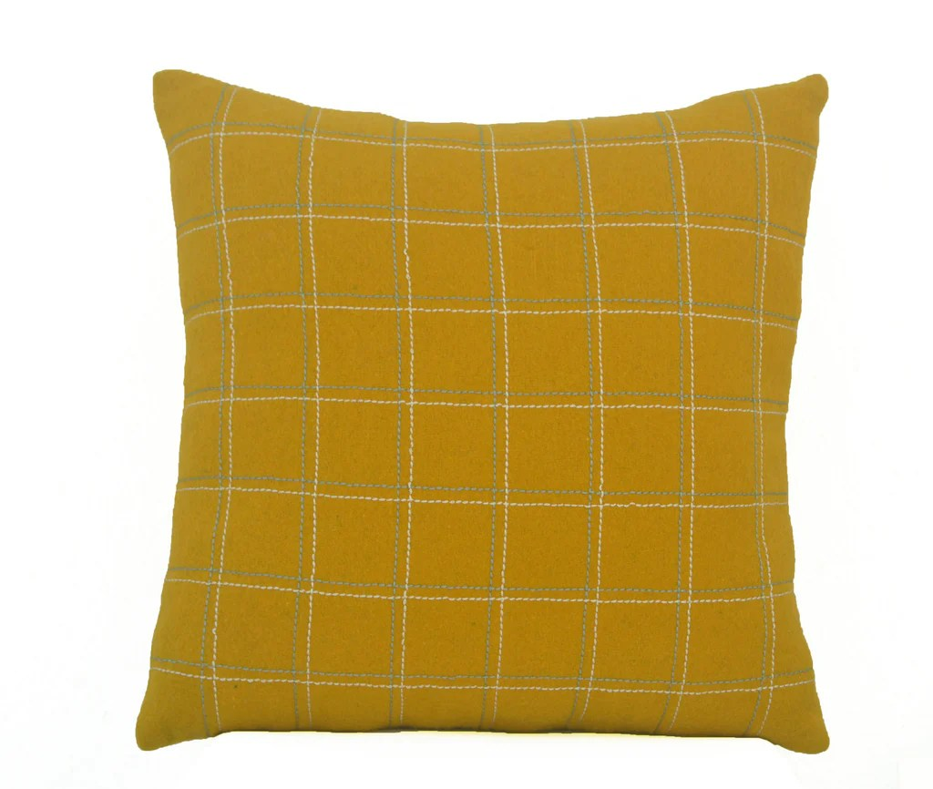 decorative throw pillow cover in mustard yellow wool felt geometric pillow case