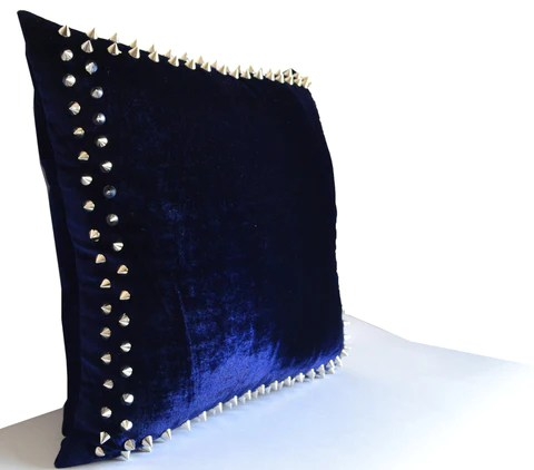 designer decorative throw pillows with studs on navy velvet pillow cover for chic modern avant garde home decor