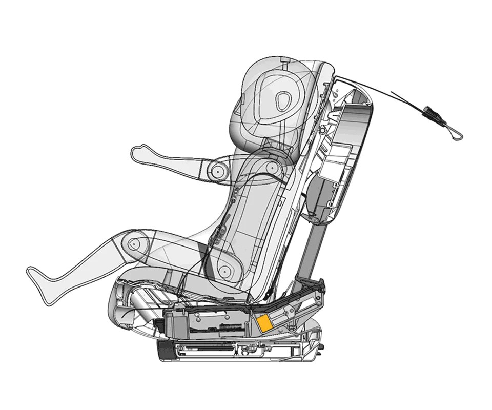 Cutaway illustration of the REACT energy-absorbing technology post collision