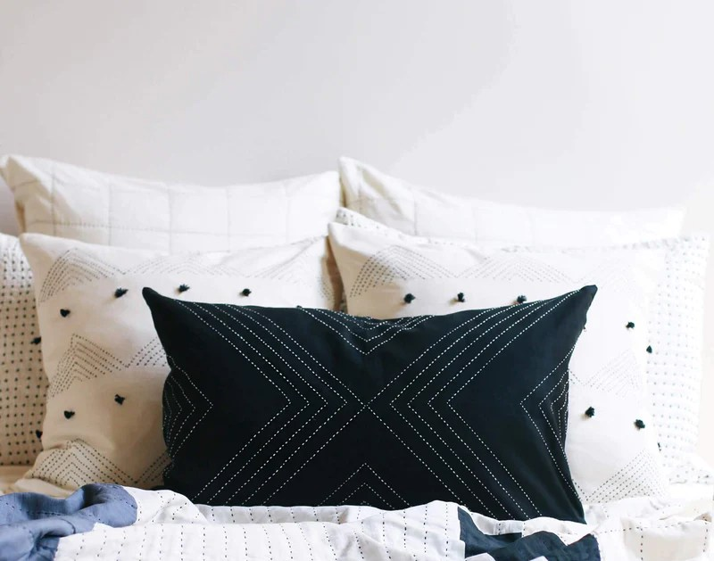 geometric stitch lumbar pillow charcoal