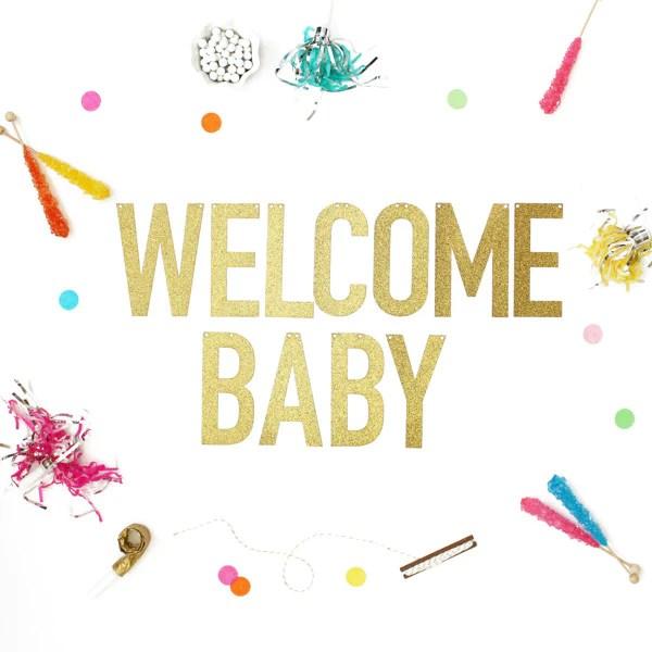 Welcome Baby Glitter Banner Alexis Mattox Design