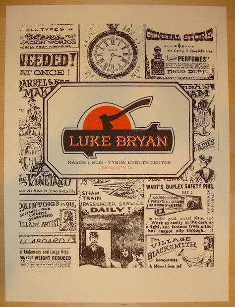 2013 luke bryan sioux city concert poster by andrew vastagh