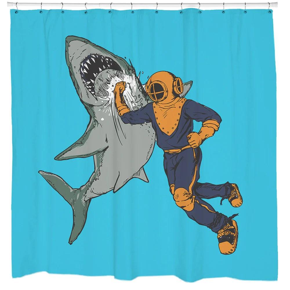 shark punch shower curtain