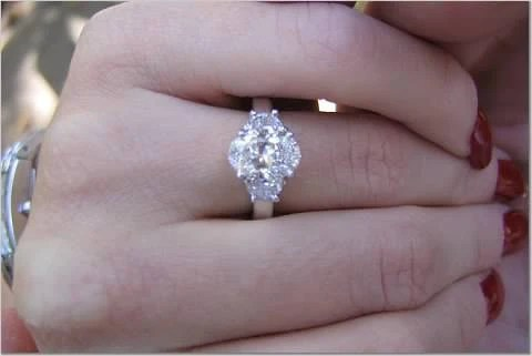 284ct Oval Diamond Engagement Ring Oval Half MOON
