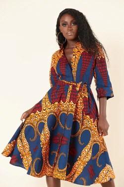 Grass-Fields Mid Lenght Dresses African Print Isha Shirt Dress