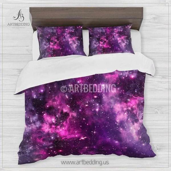 Deep Space Bedding Set Pink And Purple Nebula With Stars