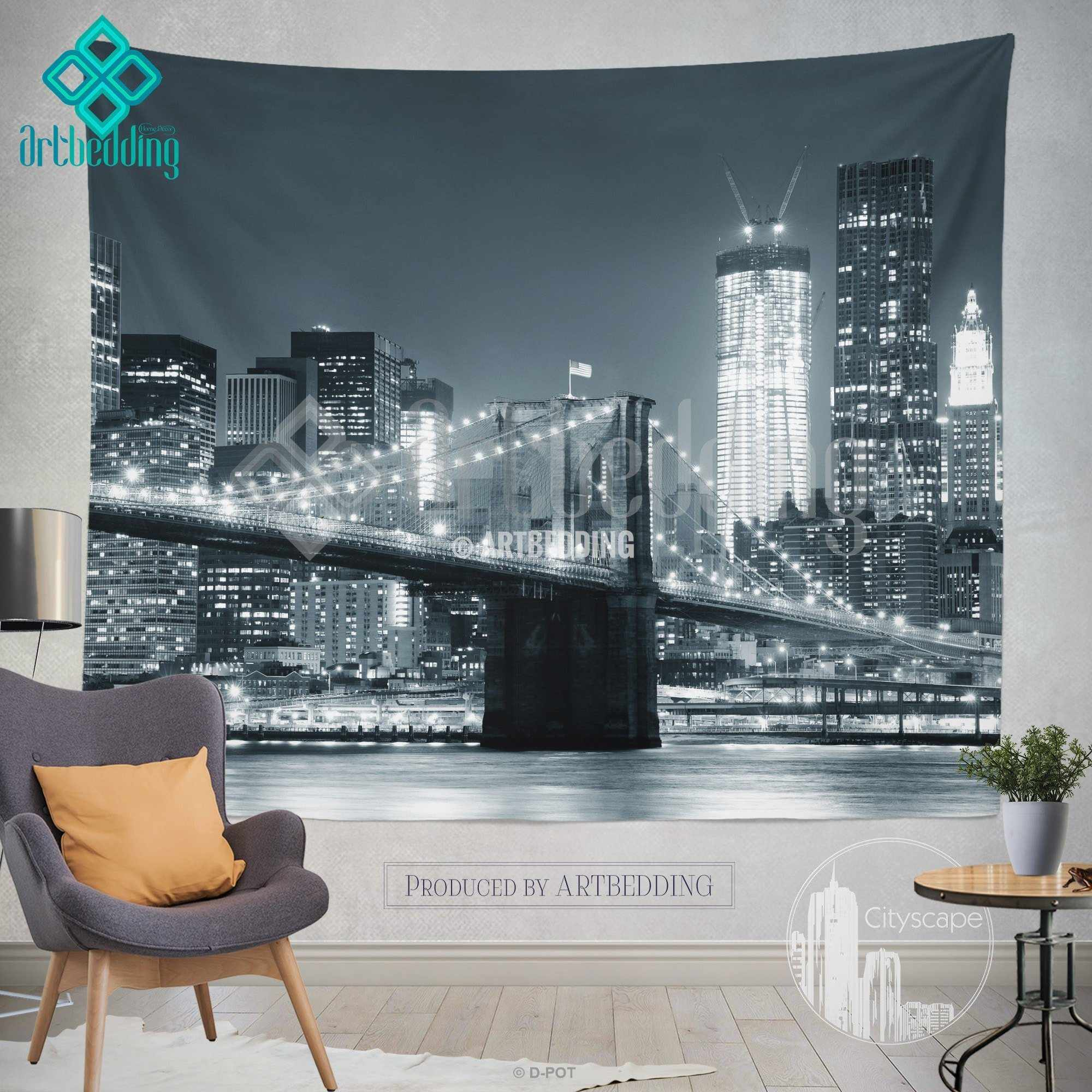 New York monochromatic cityscape wall tapestry  Brooklyn Bridge at         New York monochromatic cityscape wall tapestry  Brooklyn Bridge at  night cityscape wall decor  New