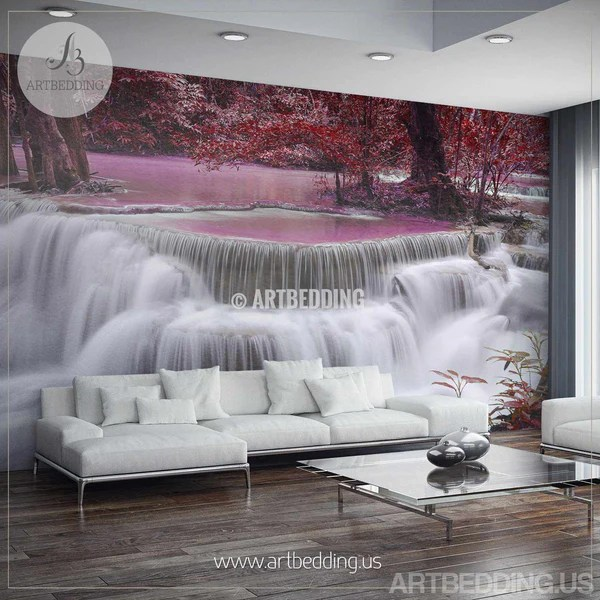 Waterfall Wall Mural Ocean Coast Self Adhesive Peel