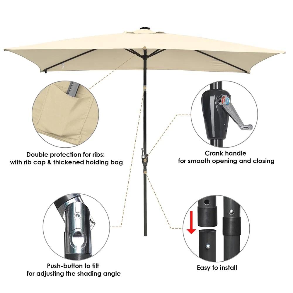 yescom 10 x6 5 solar rectangle outdoor tilt patio umbrella multiple colors