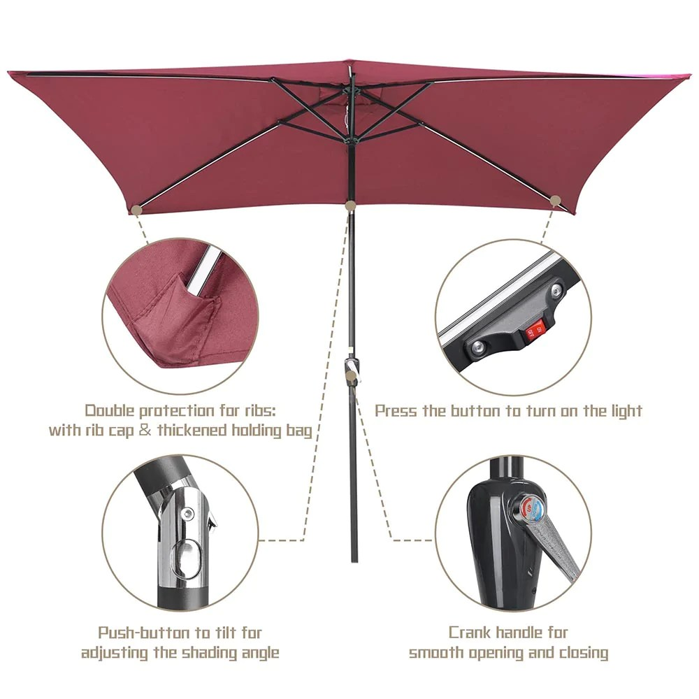 yescom rectangular patio umbrella with solar lights 10x6 5 ft 6 rib